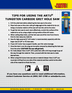 Tips for using TC Grit Hole Saws